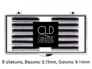 CLD Cashmire Lashes – Kašmira skropstas ar B izliekumu, MIX (0,15mm/8-14mm)