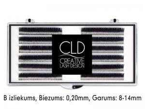 CLD Cashmire Lashes – Kašmira skropstas ar B izliekumu, MIX (0,20mm/8-14mm)
