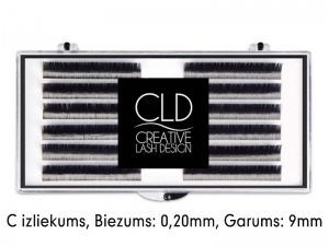 CLD Cashmire Lashes – Kašmira skropstas ar C izliekumu (0,20mm/9mm)
