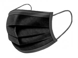 Trīsslāņu sejas maskas (melnas) 50 gab.