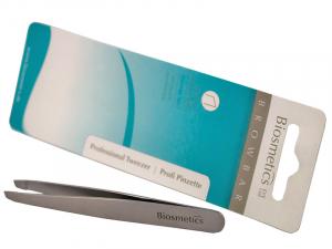 Biosmetics Professional Tweezer – Пинцет для бровей из нержавеющей стали, стерилизуемый (скошенный)